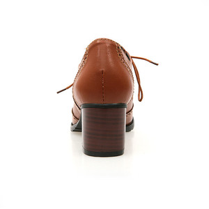 Image 5 - Женские туфли броги PXELENA, винтажные Туфли оксфорды на шнуровке, с массивными блочными вырезами, на каблуке, размера плюс, 2019