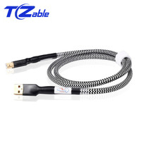 Hi End OCC USB Audio Cable Silver Plated DAC Solution Data USB Cable Type A B Hifi Cables Upgrated 0.75/1/1.5/2/3/5 Meter