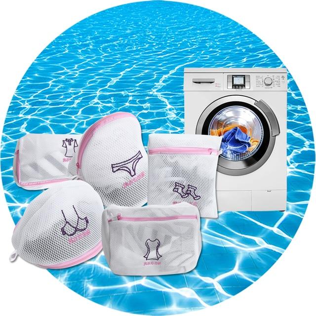 5 PCS Dupla Camada Protetor de Roupas Underwear Bra Saco de Roupa de Malha Engrossado Com Zíper Sacos para Máquinas De Lavar Roupa Cestas de Lavanderia