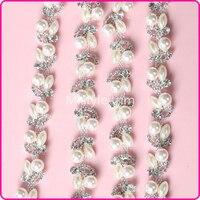 5Yards Fashionable Crystal Cup Chain Trim Diamante And Pearl Rhinestone Chain Flower Trim Silver Tone