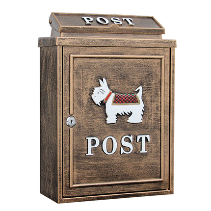 Artisanat fidèle rétro boîte aux lettres étanche à la pluie couleur dorée grande boîte rurale créative lettre courrier boîte aux lettres Villa décor extérieur Rose porter