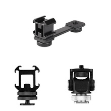 3 in 1Triple Cold Shoe Mount Plate Microphone Stand LED Video Light Extend Bracket for Zhiyun Smooth 4 Feiyu Vimble 2 Dji osm2
