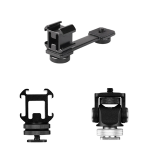 3 in 1Triple Cold Shoe Mount Plate Microphone Stand LED Video Light Extend Bracket for Zhiyun Smooth 4 Feiyu Vimble 2 Dji osm2(China)