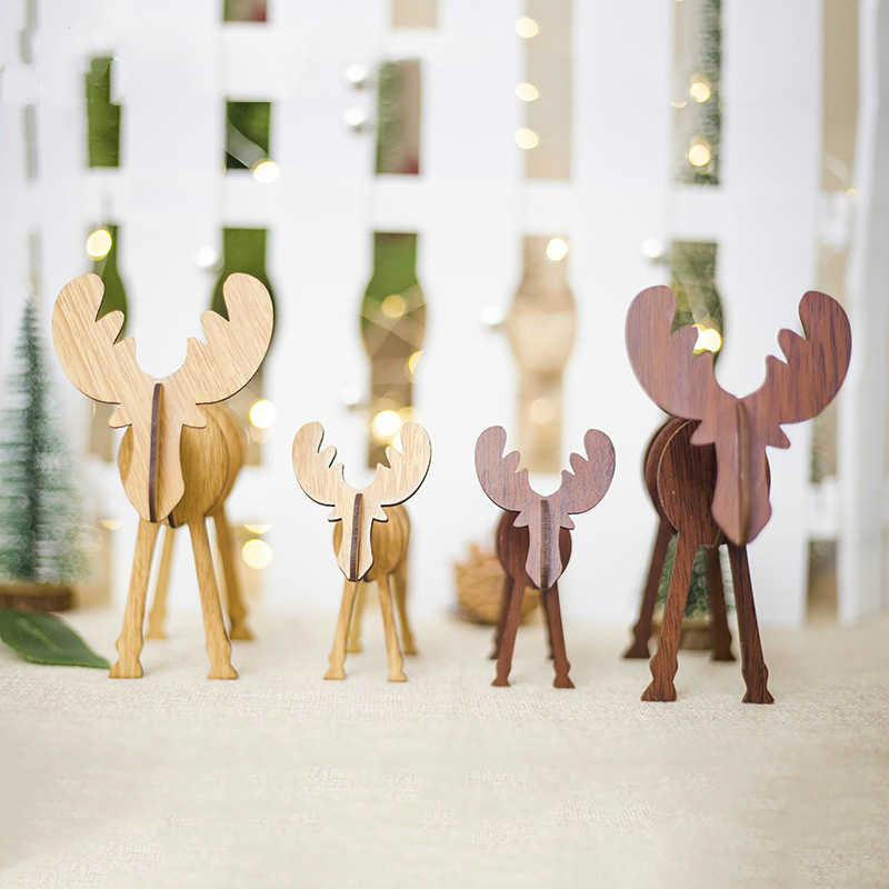 Creative Wooden Elk Reindeer Wood Crafts Children's Gifts Christmas Pendant Xmas Tree Ornaments Home Festive Decoration Supplies