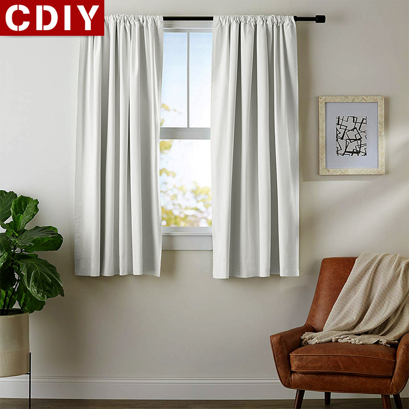 CDIY Solid Short Curtains Kitchen Blackout Curtains For Living Room Bedroom Window Treatments Curtains Home Decoration Drapes