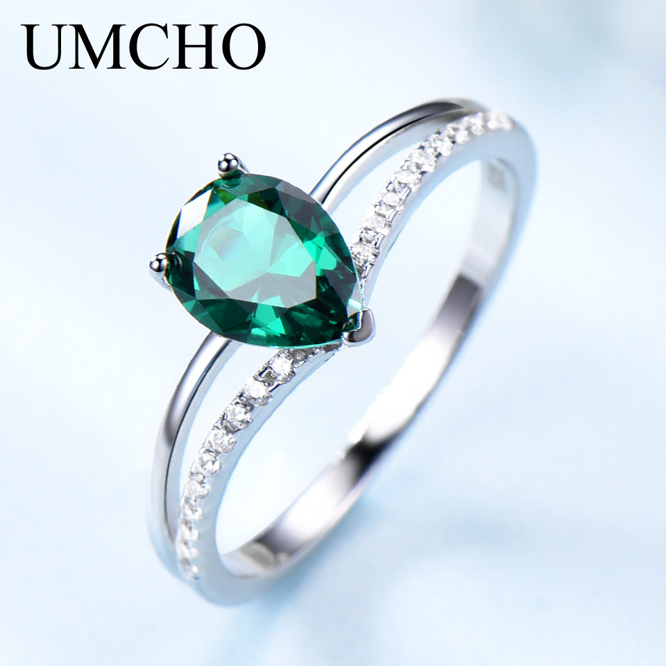UMCHO Green Emerald Gemstone Rings For Women 925 Sterling Silver Jewelry Romantic Classic Water Drop Ring Valentine's Day Gift