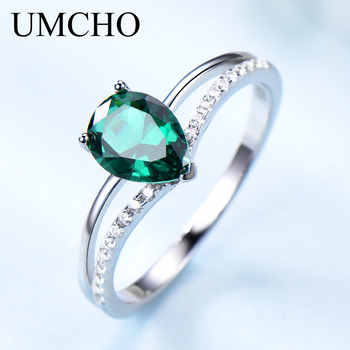 UMCHO Green Emerald Gemstone Rings for Women 925 Sterling Silver Jewelry Romantic Classic Water Drop Ring Valentine's Day Gift - DISCOUNT ITEM  65% OFF All Category