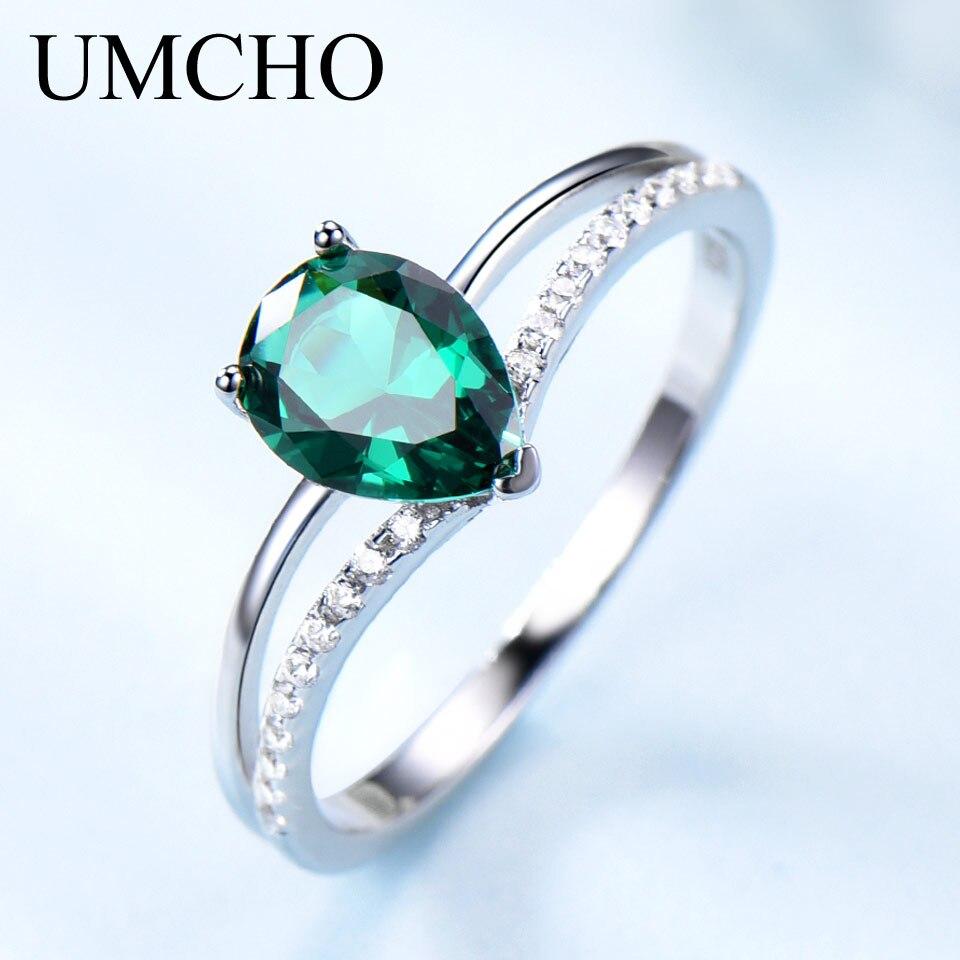 UMCHO vert émeraude pierres précieuses anneaux pour les femmes 925 bijoux en argent Sterling romantique classique goutte d'eau anneau saint valentin cadeau