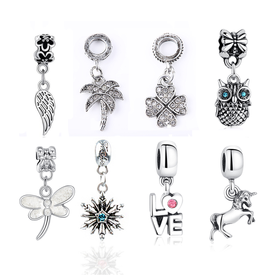 free shipping 1pc Feather Love Heart Horse Dragonfly Beads Fit Pandora Charms Vintage Silver Diy Beads Bracelet Charms