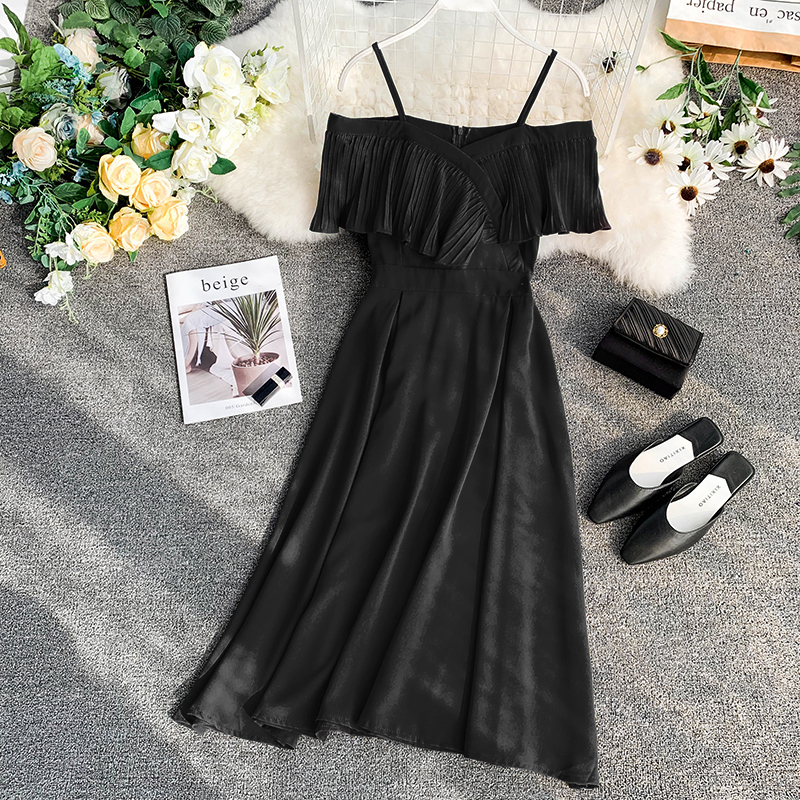 Neploe Sweet Spaghetti Strap Women Dress 2019 Solid Slash Neck Short Sleeve Vestido England Style Chiffon A-Line Robe 43088 10