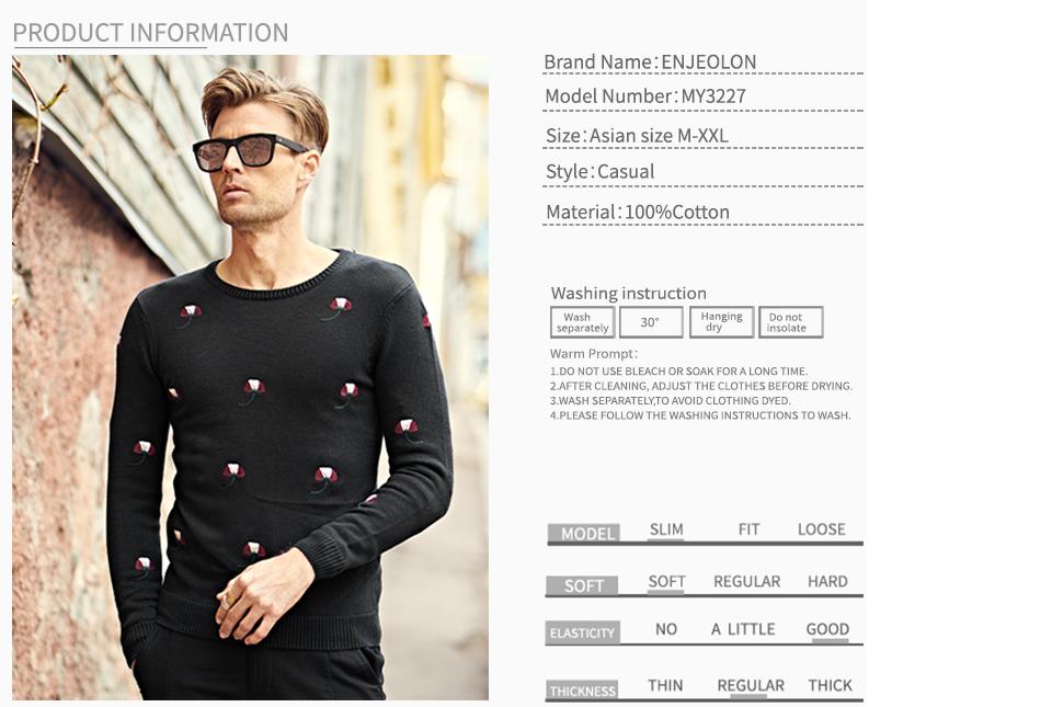 HTB1G7eVXcvrK1Rjy0Feq6ATmVXaN - Enjeolon brand top fall winter warm knitted pullovers Sweater man 100 Cotton pattern pullober o-neck pullover Sweater men MY3227