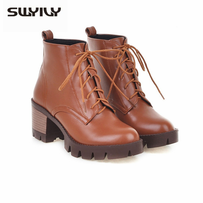 SWYIVY Bootee Woman 2019 Autumn/winter <font><b>Block</b></font> <font><b>Heel</b></font> Shoes Women <font><b>Ankle</b></font> <font><b>Boots</b></font> Black/white Shoes Martin <font><b>Boots</b></font> Platform Big Size 34-43 image