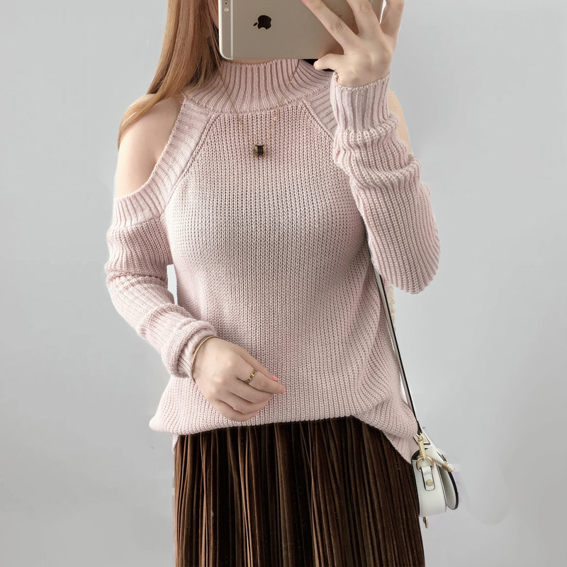 Knitted sweaters for women 2017 Loose off shoulder Autumn Women Sweater Pullovers Female Tricot Jumper Pull Femme sweaters