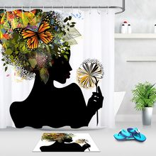LB Pretty African American Black Girl White Shower Curtains with Mat Set Butterfly Bathroom Waterproof Fabric For Bathtub Decor(China)