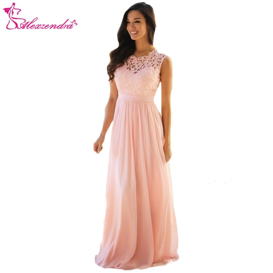Alexzendra Pink A Line Chiffon Prom Dresses Plus Size Lace Elegant Formal Evening Dresses Party Dress Customize