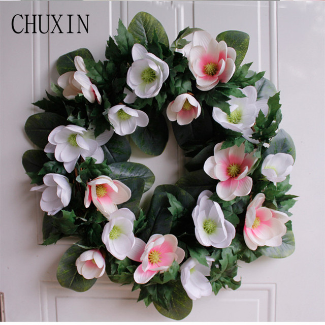 Artificial Silk Flower Magnolia Natural Cotton Wreath Home Door Wall