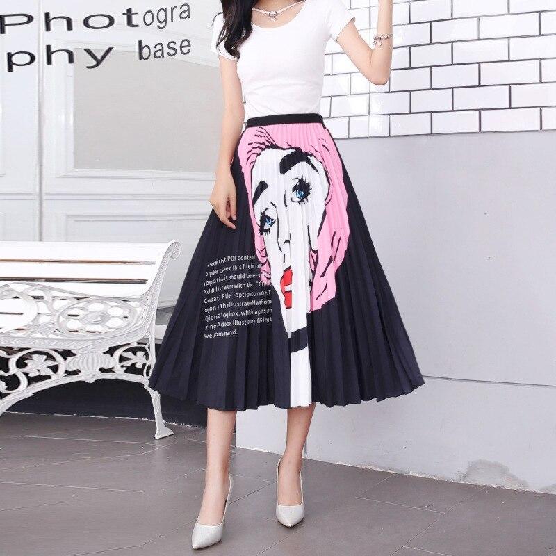 2020 New Summer Skirts Womens Butterfly Catroon Print Empire High Waist Elastci Pleated Midi Skirt European High Street Style 45