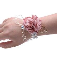 Corsage Bracelet Hand Wrist Flower Purple Pearls Bridemaids Accessoirs Band Wedding