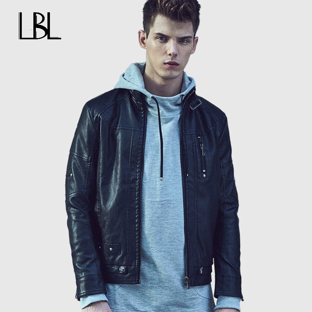 New arrival Men Leather Jacket Winter PU leather Jackets Casual Coats Jaqueta Masculina Couro Stand Collar Big Size 4XL