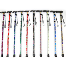 Ultra light folding outdoor trekking poles printing old telescopic straight handle cane hiking mountain old walking stick new outdoor aluminum alloy sticks adjustable telescopic outside lock t handle mountain walking stick super light old man cane