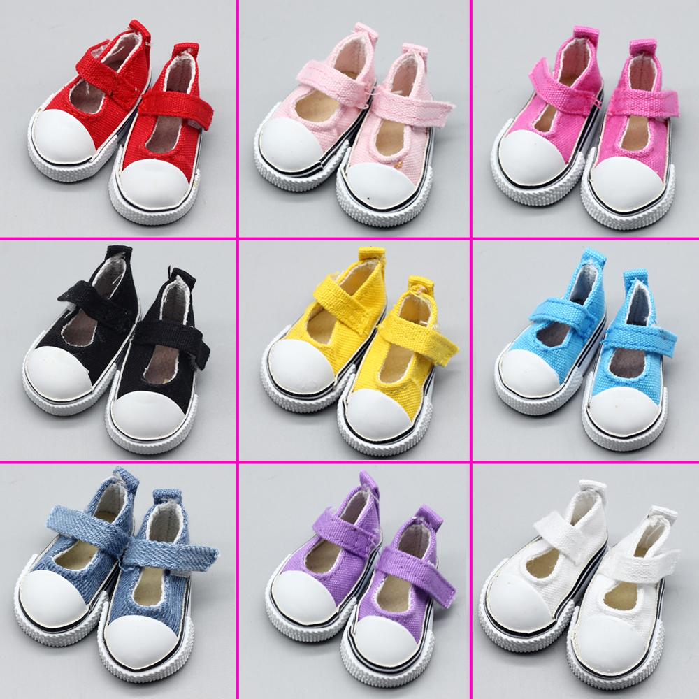 1pair Assorted Colors 5cm Printing Cowboy Blue Mini Doll Sneakers Boots For 1/6 BJD Accessories