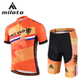 Miloto Short Sleeve Cycling Jersey Sets ropa ciclismo Team Bicycle Sports wear Summer Breathable Gel Shorts Cycling Clothing Set