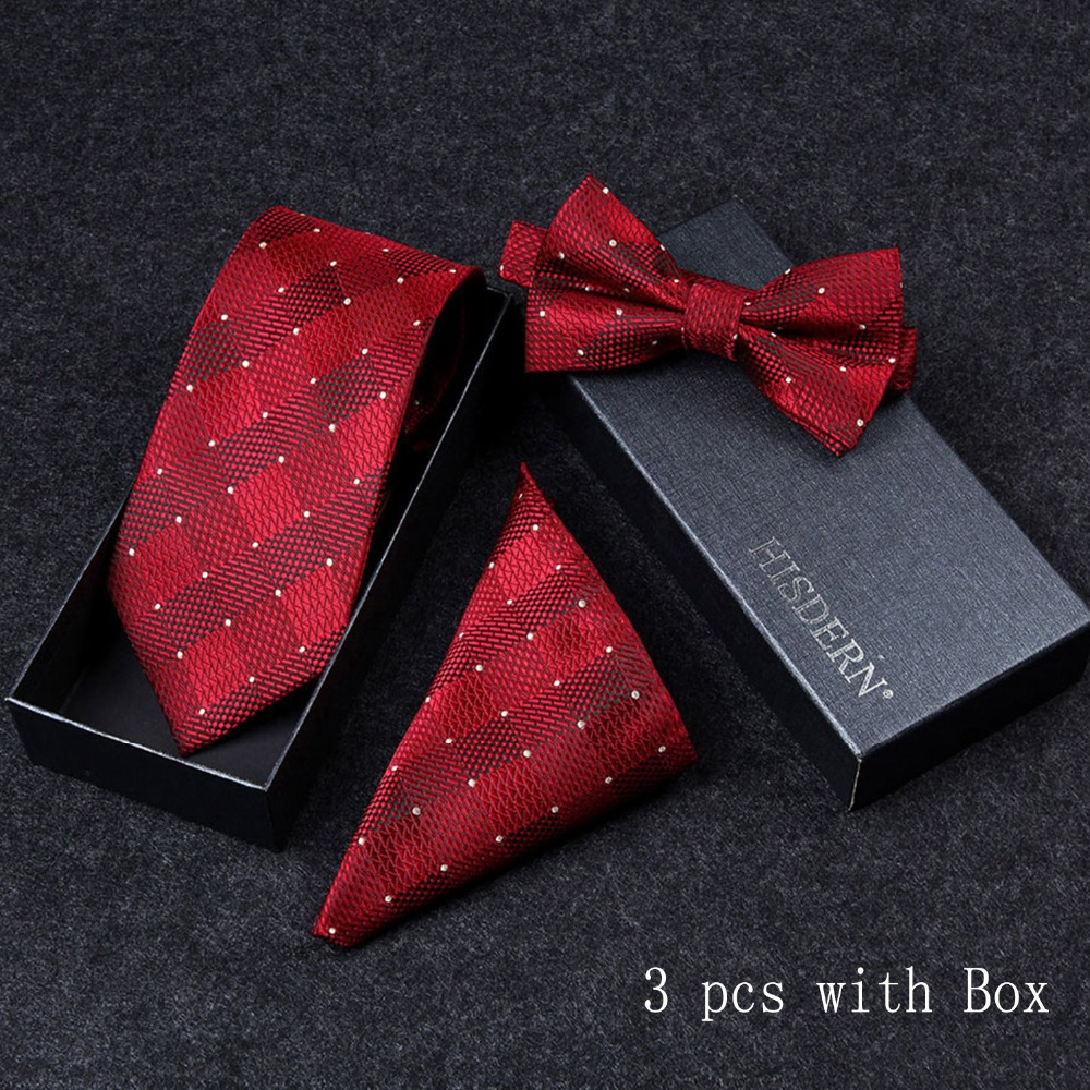 Apparel Accessories Popular Brand Hisdern 3 Pc Classic Polka Dot Paisley Stripe Tie Men Pre-bowtie And Pocket Square Necktie Bow Tie Handkerchief Gift Box
