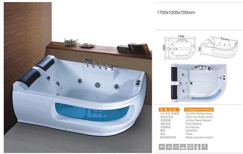 Banheira de hidromassagem acrílica do surf da banheira do redemoinho da fibra de vidro de 1700mm que massageia ns3036-3