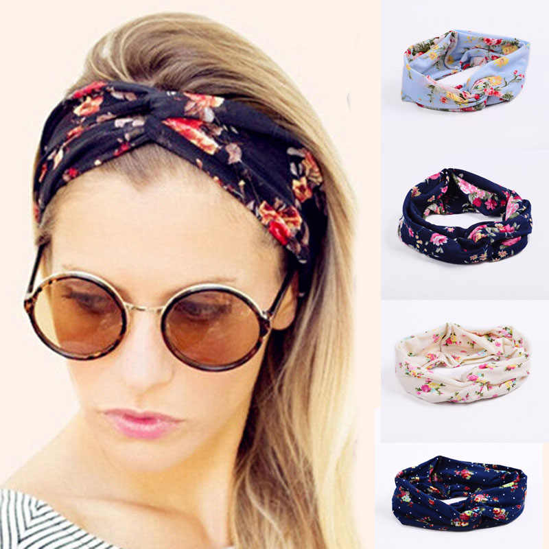 Women Flora Printed Headband Rope Elastic Hair Bands Hair Gum Clip Women Female Turban Hair Accessories haarbanden voor vrouwen