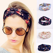 Women Flora Printed Headband Rope Elastic Hair Bands Hair Gum Clip Women Female Turban Hair Accessories haarbanden voor vrouwen(China)