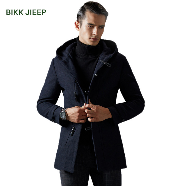 Winter Jacket Men Thickening Wool Coat Slim Fit Wool & Blends ...