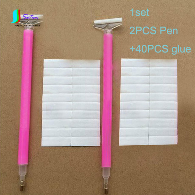 Us 12 4 Diy Craft Necessary Tool Plastic Clear Pink Handle Sticky Bar Head Cross Stitch Diamond Painting Pen Tool Set S0027 In Sewing Tools