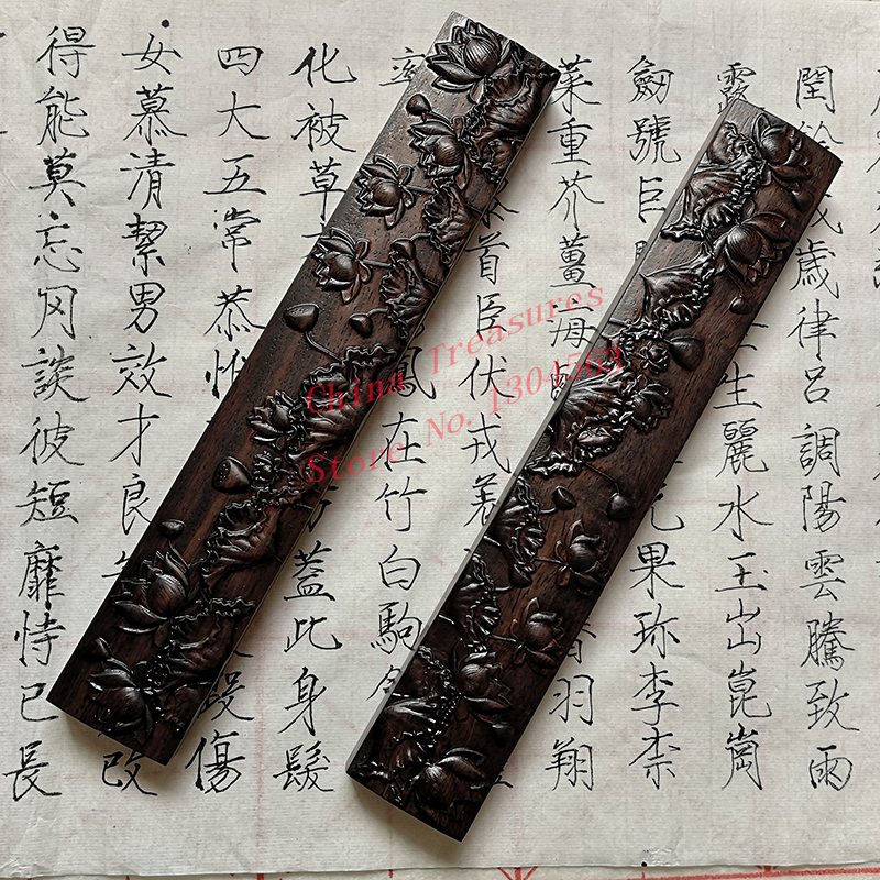 2pcs Big Size,Chinese Calligraphy Paperweight Natural Wooden Paper Weight Lotus Design Chinese Painting Supplies