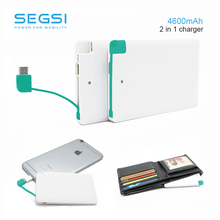 Tarjeta de crédito cargador powerbank mini 4600 mah portable universal de reserva externa power bank para samsung xiaomi htc android iphone 6