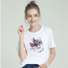 BTFCL Harajuku Cute Large Size Summer Loose Casual Sailor Moon Cat Cartoon Print Fun New Women O-Neck T-Shirt