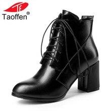 52819c403 TAOFFEN tamaño 31-43 mujeres botas Patchwork invierno corto botas encaje  zapatos mujer moda caliente corto cargadores de las señ.