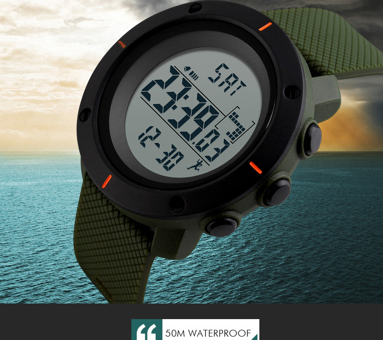 Men's Watches Pedometer Sport Watch Men Skmei Brand 50m Waterproof Led Digital Chrono Calories Alarm Outdoor Military Wristwatches Watches