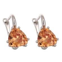 3 Colors High Quality Zircon Silver Geometric Jewelry Stud Earrings For Women Purple/White/Black Crystal