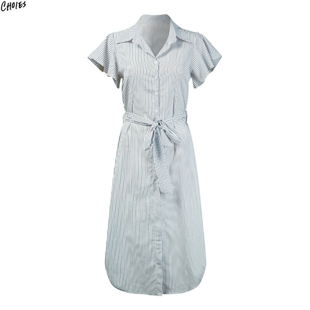 c8d21aac630d White Stripe Butterfly Sleeve Midi Shirt Dress Women Tied High Waist  Buttons Up Front Dipped Hem Casual Office Ladies Dresses