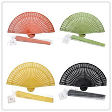 100pcs You choiceRed/white/blue/black and so on Wood Panel Hand Fan w/ Organza Bag 8