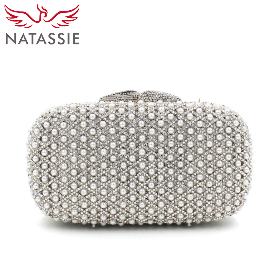 NATASSIE Rhinestone Silver Clutch Bag With Beading Wedding Clutches Sisters Party Attractive Shine Doubleside Crystal