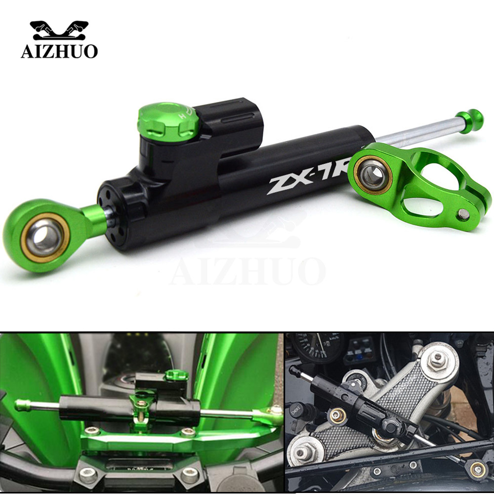For KAWASAKI ZX7R ZX 7R 1989 1990 1991 1992-2003 CNC Aluminum ZX7R LOGO Motorcycle Damper Steering Stabilize Safety Control fairing bolts full screw kit for kawasaki ninja zx 7r 96 03 zx 7 r zx 7r zx7r 96 1999 2000 2001 2002 2003 5f19 nuts bolt screws