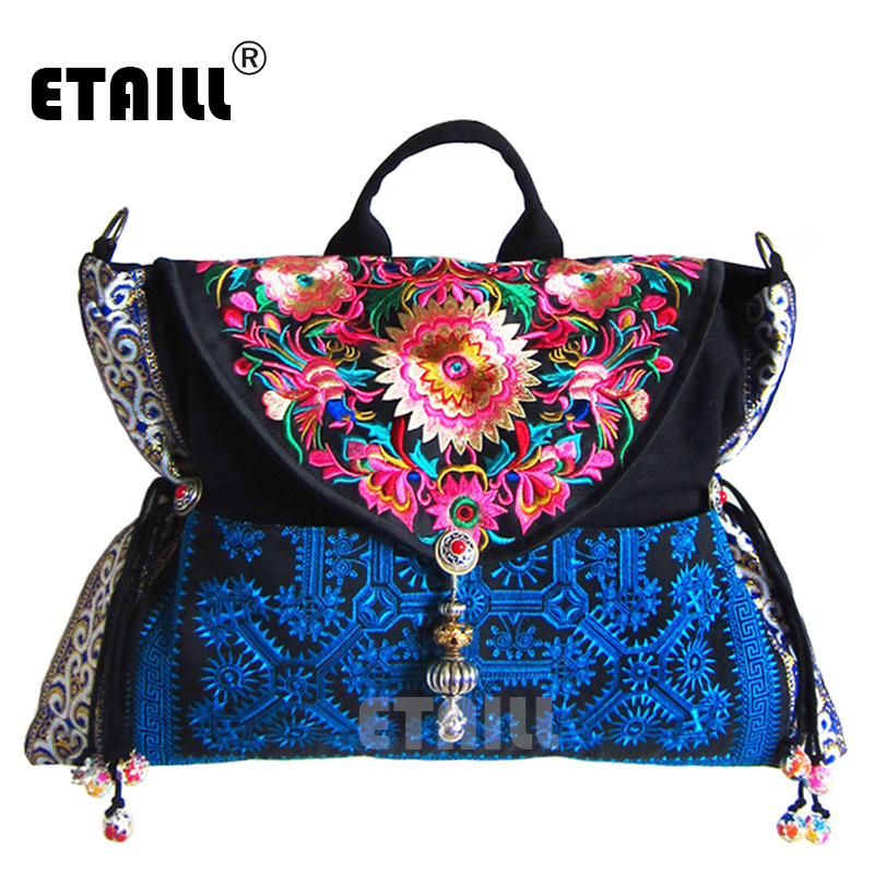 National Vintage Chinese Hmong Ethnic Thai Indian Boho Embroidered Bags Shoulder Messenger Bag Sac a Dos Femme Bordado Bolsa yunnan hmong vintage ethnic embroidered boho indian floral embroidery thailand famous brand logo bag and handbag sac a dos femme