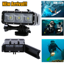 NUEVA Go Pro Accesorios Submarina Buceo Impermeable LED Luz Lámpara Spot para GoPro Héroe 4 3 plus 3 Cámara SJ4000 SJCAM