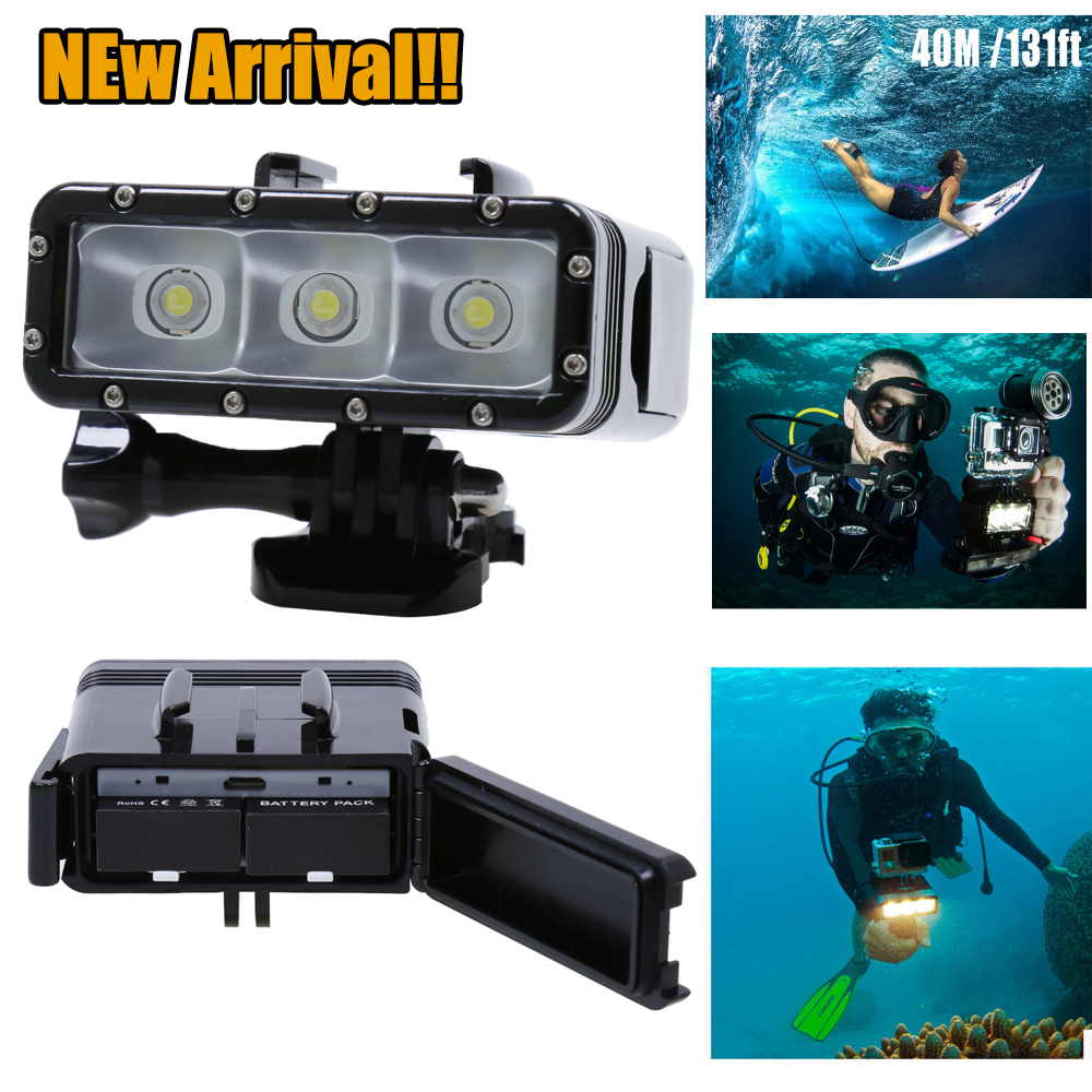 NEWEST Go Pro Accessories Underwater Waterproof Diving LED Light Spot Lamp for GoPro Hero 4 3plus 3 Camera SJ4000 SJCAM