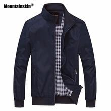 Mountainskin 2018 Новый Для мужчин куртки осень повседневные пальто одноцветное Цвет Slim Fit Мужской Курточка бомбер Для мужчин s брендовая одежда 6XL SA529