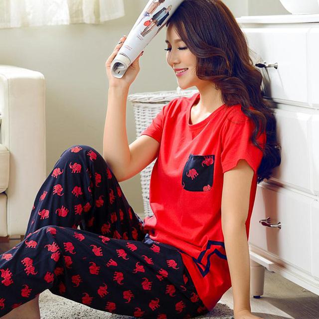 Calças de Pijama de Verão de Manga Curta das mulheres Sleepwear Pijama De Algodão Em Casa Jovem Mulheres Salão Conjunto de Pijama