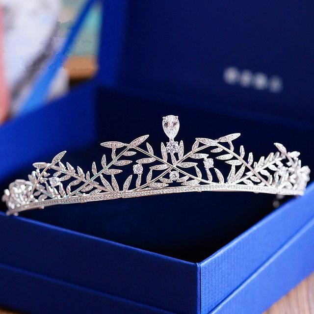 Full Zircon Tiara Bride Crown Diadem Mariage Wedding Hair Accessories Bride Jewelry Bijoux Cheveux Tocados Para Novia WIGO0943