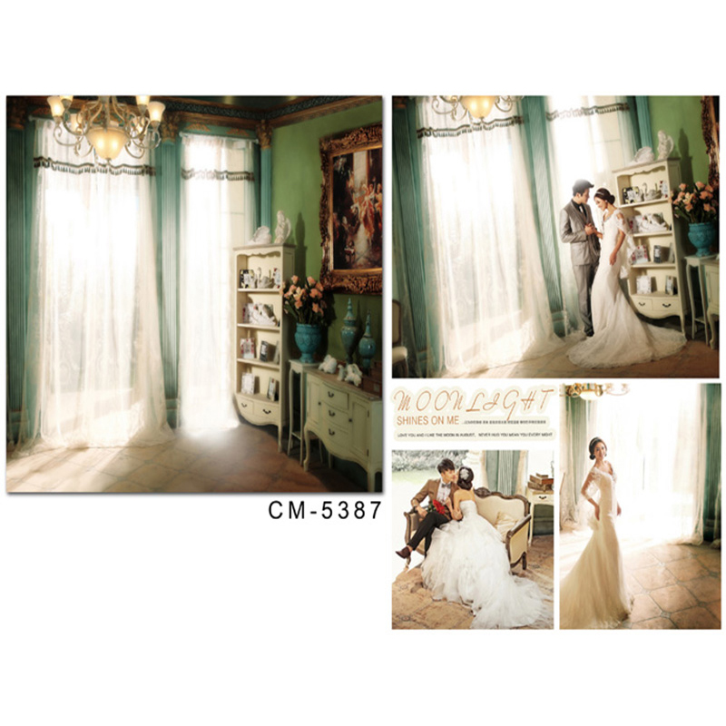 Photocall for Wedding Sun Curtain Chandelier Photo Booth Backdrops Flower Vase Cabinet Background for Photographic Studio