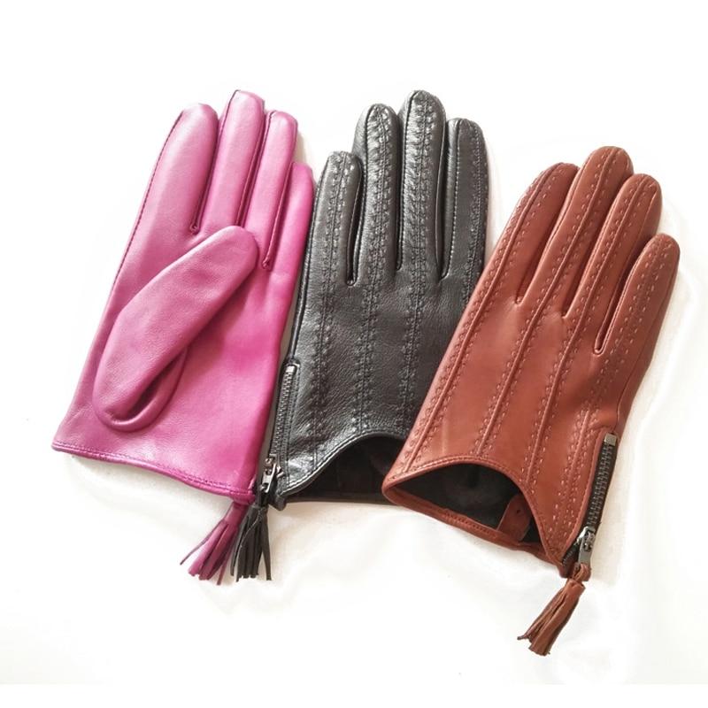 Lady Short Style Genuine Leather Gloves Autumn Winter Thin Velvet Lined Driving Tassel Zipper Woman Sheepskin Gloves TB80